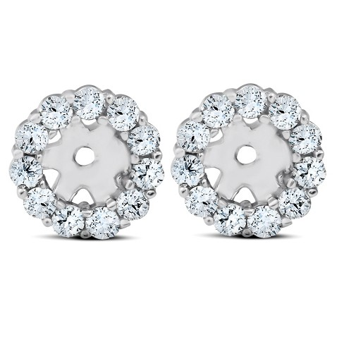 Pompeii3 3/8ct Halo Diamond Earring Jackets 14K White Gold Fits 1 .