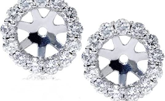 Amazon.com: 14K White Gold 1/2ct. Diamond Earring Jackets: Stud .