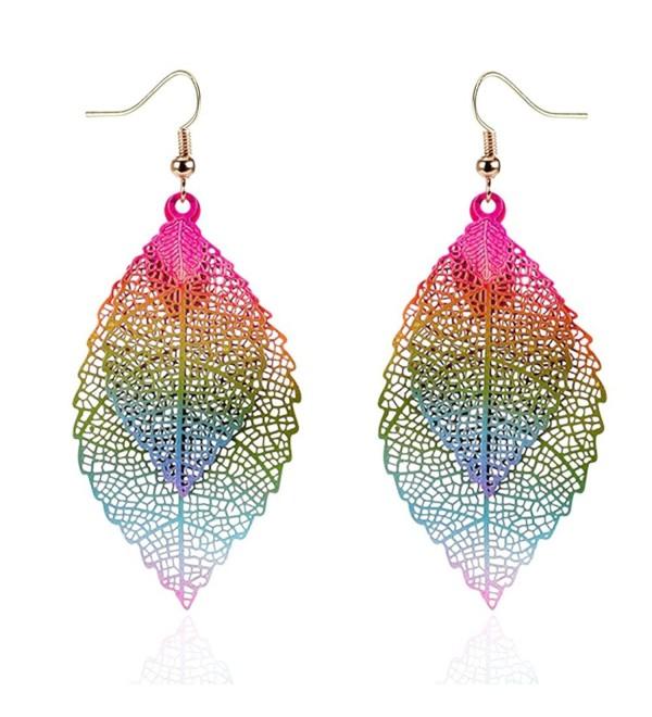 Womens Double Leaf Lightweight Vintage Design Earrings for Women .
