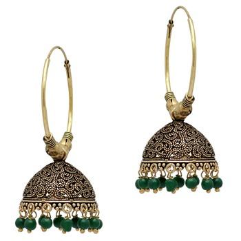 Green Color Beads Jhumka Earrings For Girls and Women - Jaipur .