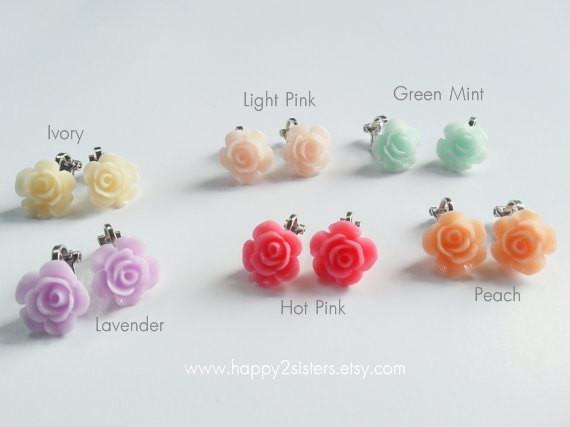 Girls Clip on earrings Flower girl headband Flower girl gift .
