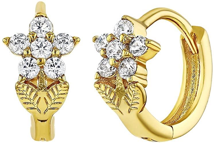 Amazon.com: 18k Gold Plated Crystal Flower Hoop Earrings Girls .