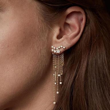 Women's Star Dangle Earrings with Crystal Rhinestones - Go