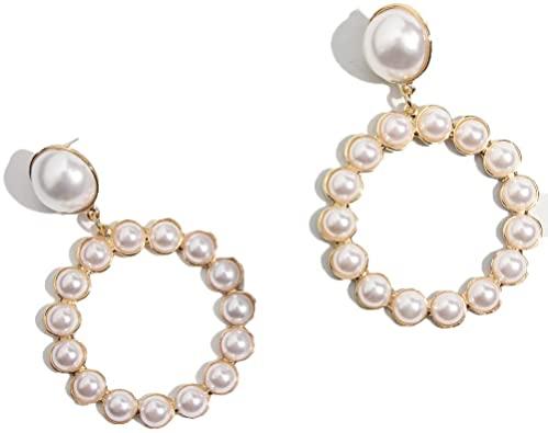 Amazon.com: Gold Round Drop Earrings Women Trendy Imitation Pearl .