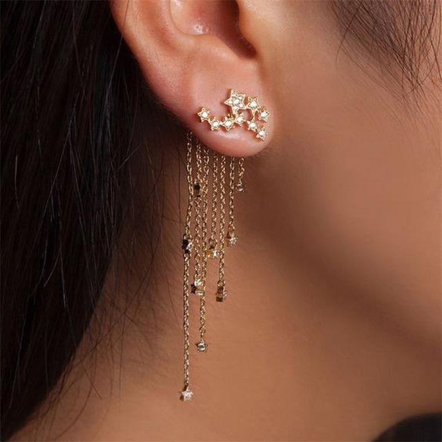1 Pair Fashion Women Stylish Gold/ Silver Color Star Streamlined .