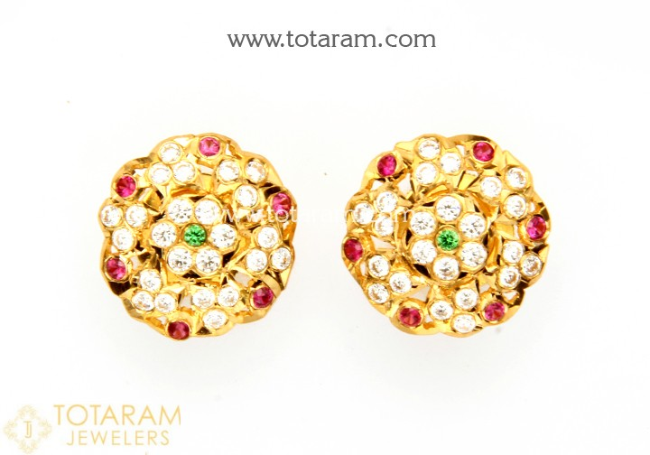 22K Gold Earrings for Women With Cz & Color Stones - 235-GER11029 .