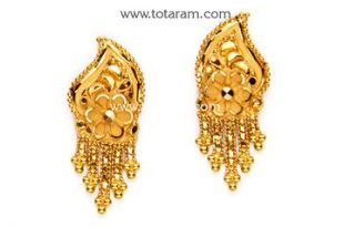 Gold Earrings for Women in 22K Gold - GER6428 - Indian Jewelry .