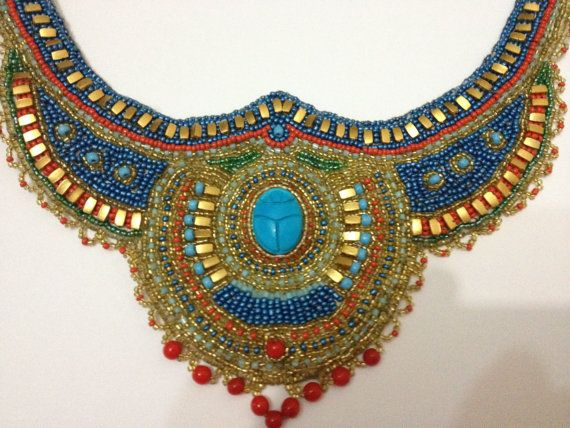 Egyptian Scarab Necklace. Egyptian jewelry -Egyptian Handmade Bead .