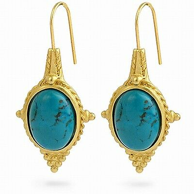Egyptian Jewelry Turquoise Revival Earrings 22 Karat Gold Plated 1 .
