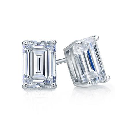 Certified 14k White Gold 4-Prong Basket Emerald Cut Diamond Stud .