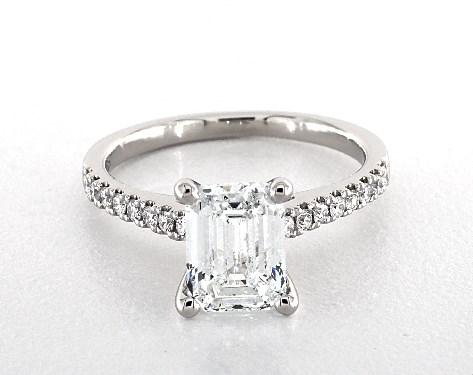 2.00 Carat Emerald Cut Pave Engagement Ring in Platinum - 18790