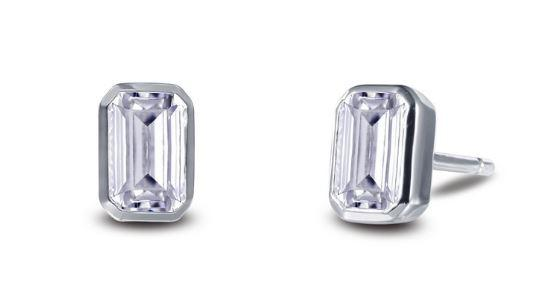 Bezel Set Simulated Emerald Cut Diamond Stud Earrings E0350CLP .