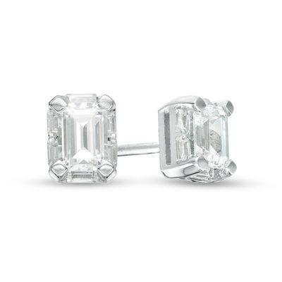 1/2 CT. T.W. Emerald-Cut Diamond Frame Stud Earrings in 14K White .