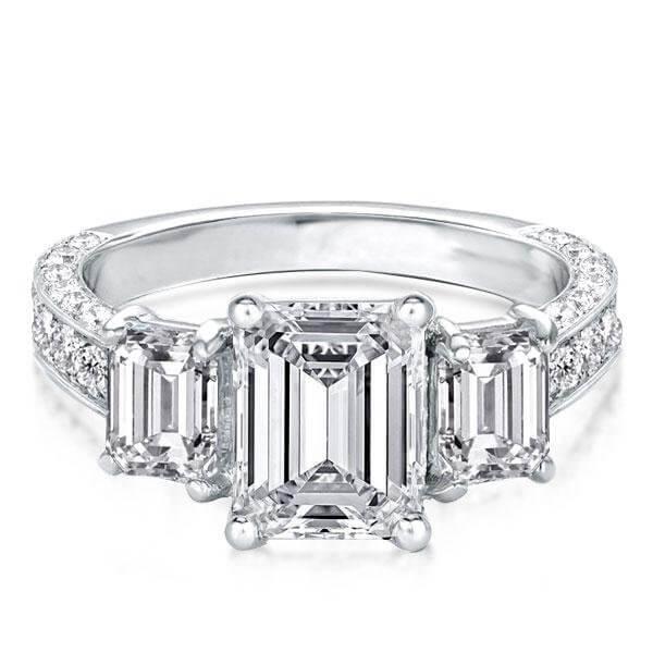 Half Eternity Three Stone Beautiful Emerald Cut Engagement Rin