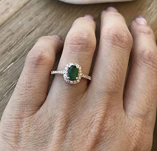 Amazon.com: Rose Gold Emerald Ring- Halo Emerald Engagement Ring .