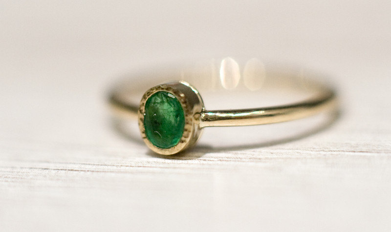 Oval Emerald in 14k Gold, Emerald Engagement Ring, Unique .
