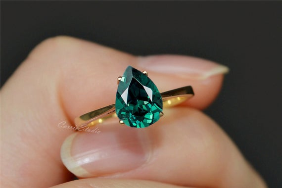 Solid 14K Yellow Gold Emerald Ring Pear Emerald Engagement | Et