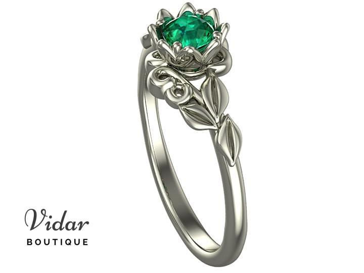 Unique Floral Emerald Engagement Ring │Vidar Boutique | Vidar .