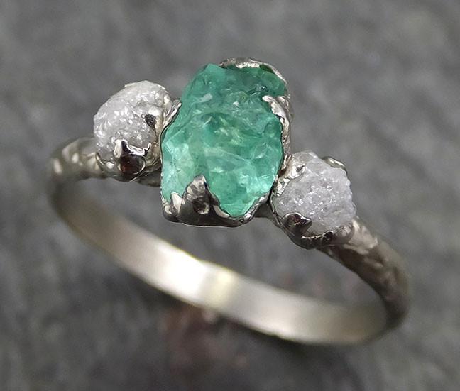 Three raw Stone Diamond Emerald Engagement Ring 14k Multi stone .
