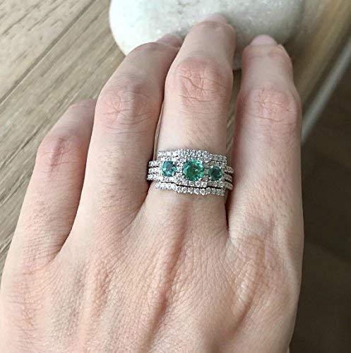 Amazon.com: Emerald Engagement Ring Set- Art Deco Wedding Set .