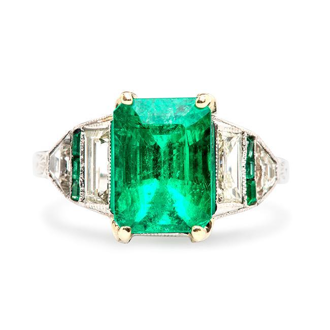 Vintage Emerald Diamond Engagement Ring | Eagle Lake – Trumpet & Ho