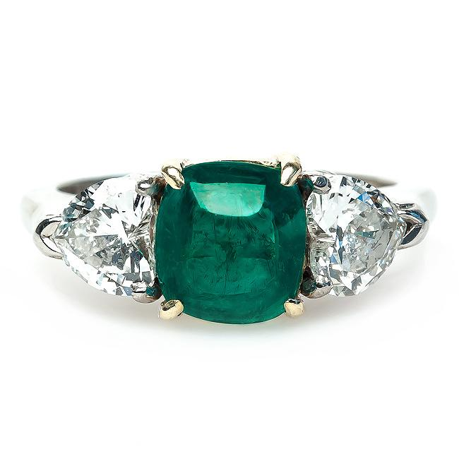Vintage Emerald and Diamond Engagement Ring | Mint Julep – Trumpet .