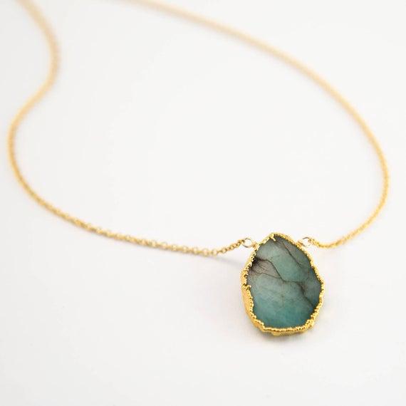 Raw Emerald Necklace May Birthstone Jewelry Gemstone Slice   Et