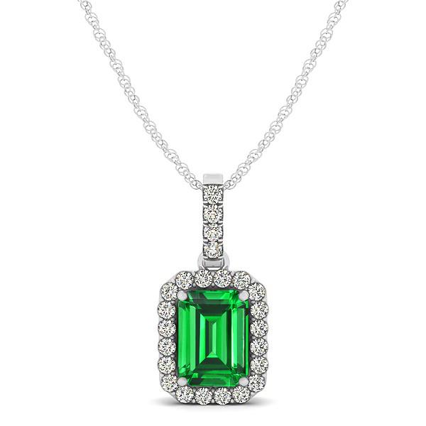 Classic Emerald Cut Emerald Necklace with Halo Penda