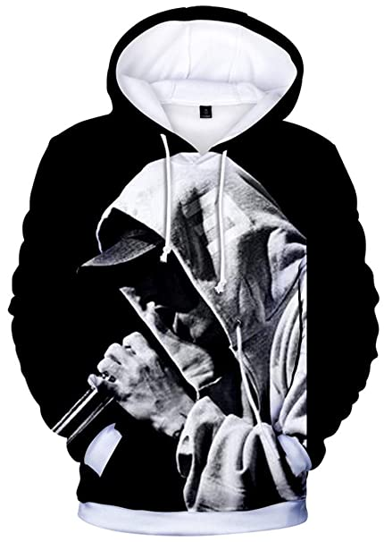 Silver Basic Men's Eminem 3D Printed Sweatshirt Long Sleeve .