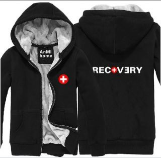 Black Eminem zip hoodie for men Recovery thick fleece sweatshirt .