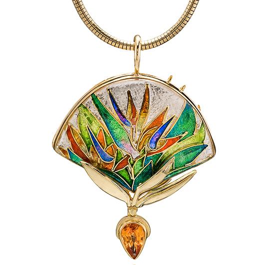 Custom Enamel Pendant | Bird of Paradise | One of a kind gold jewel