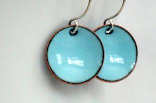 Robin's Egg Blue Enamel Earrings Enamel Jewelry | Et
