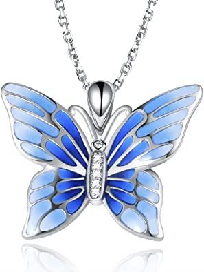 Amazon.com: APOTIE 925 Sterling Silver Blue Butterfly Pendant .