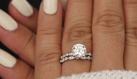 Wedding Ring Set Moissanite 14k White Gold Engagement Ring | Et