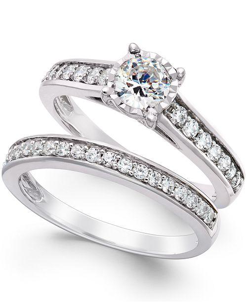 TruMiracle Diamond Bridal Engagement Ring Set in 14k White Gold .
