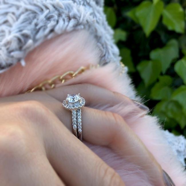 Barkev's White gold diamond engagement ring set - 7201S | Barkev