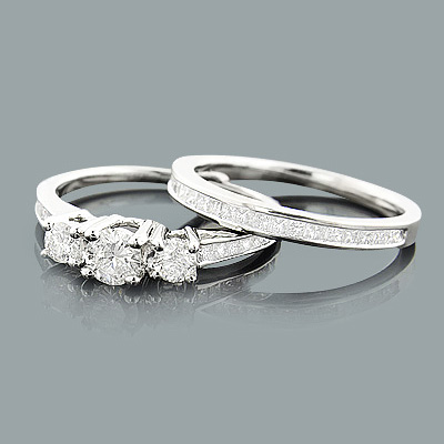 Three Stone Diamond Engagement Ring Set 1.16ct 14K Go