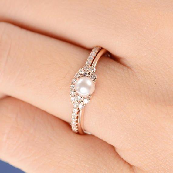 Pearl Engagement Ring Set Rose Gold Bridal Cluster Diamond .
