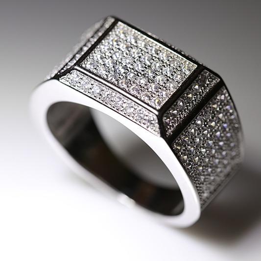 s925 Sterling Silver Rings For Men Engagement Rings FULL Cubic .