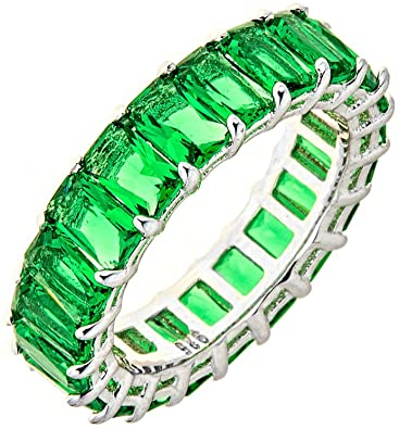 Amazon.com: Maya J Eternity Ring - Emerald-Cut, with Artisan .