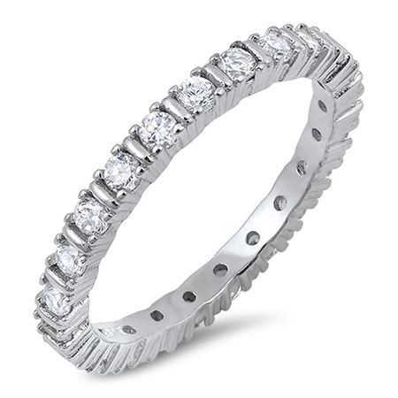 Quality 3mm 925 Sterling Silver Eternity Ring - ForeverGifts.c