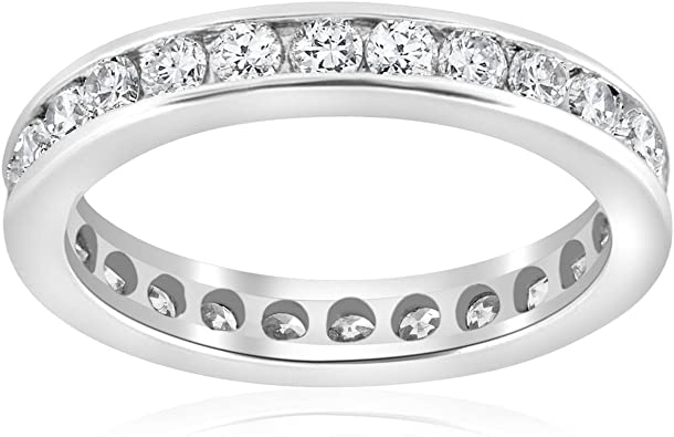 Amazon.com: 1 1/2ct Channel Set Diamond Eternity Ring 14K White .