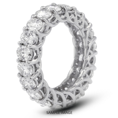 14k White Gold Trellis Style Eternity Ring with 4.80 Total Carat F .