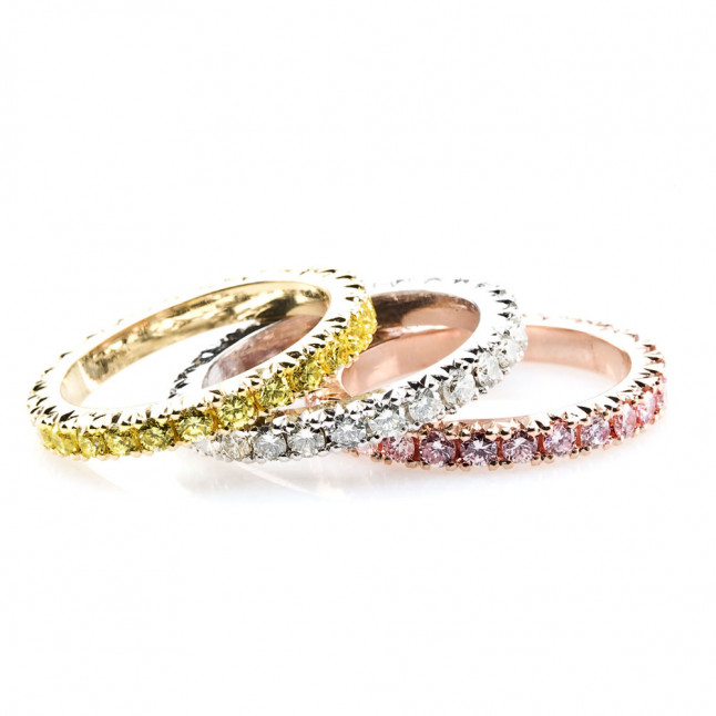 Colored Diamond Eternity Rings S