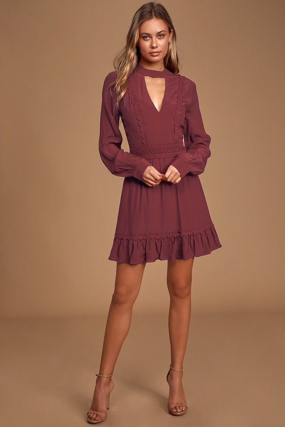 Lovely Burgundy Dress - Long Sleeve Skater Dress - Ruffled Dre
