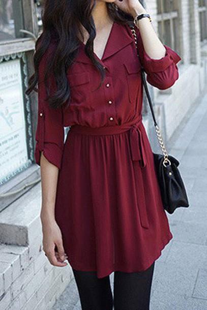 dress, casual, burgundy, burgundy dress, fall outfits, fall dress .