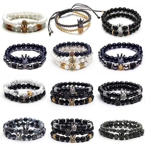 Vareno Beaded Crown Bracelet Set | Bracelets for men, Fashion .