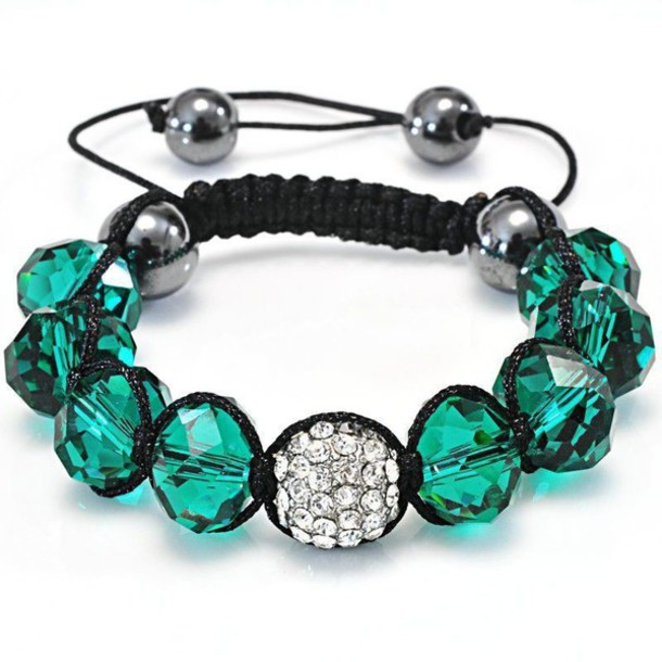 jewels, fashion bracelets, shamballa bracelets, green beads .