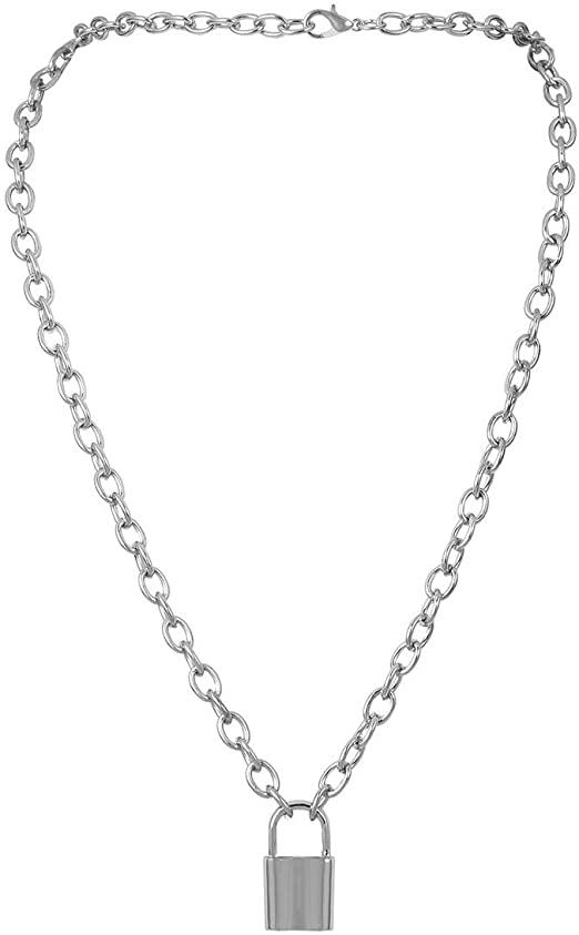 Amazon.com: Krun Y Necklace Lock Pendant Simple Cute Necklaces .