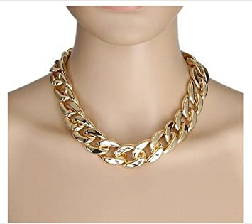 Amazon.com: Gold Chunky Large Bling Statement Curb Chain Fashion .